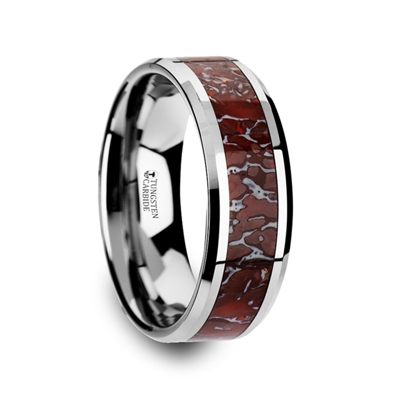 Icarus Red Dinosaur Bone Inlaid Tungsten Carbide Beveled Edged Ring